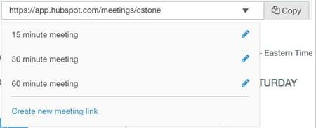 Create new meeting link - HubSpot