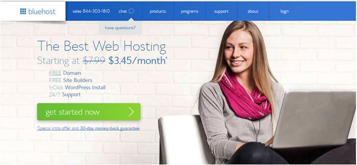 Bluehost's CTA really grabs your attention
