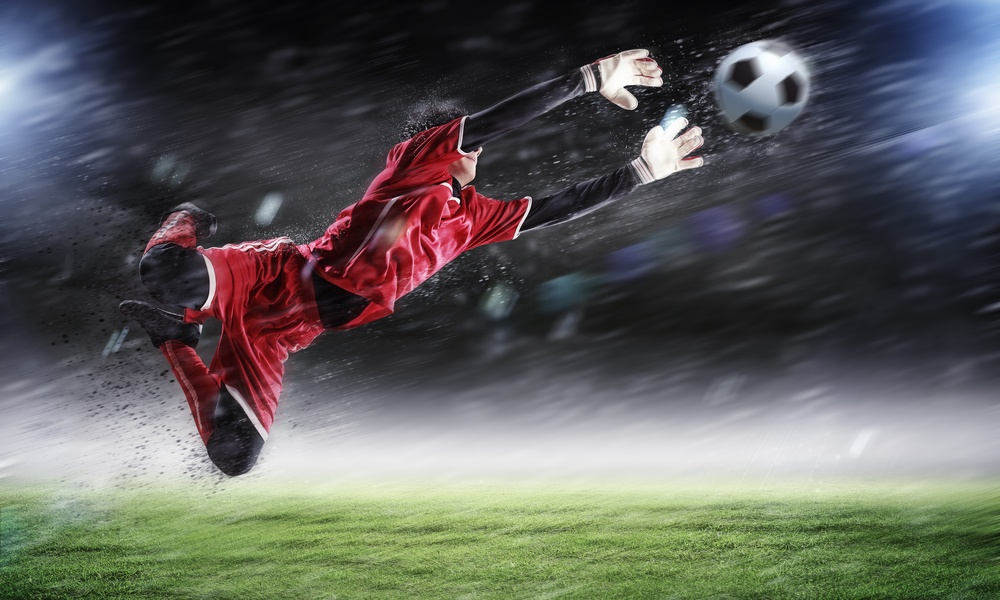 Goalkeeper catches the ball . At the stadium, in the spotlight..jpeg