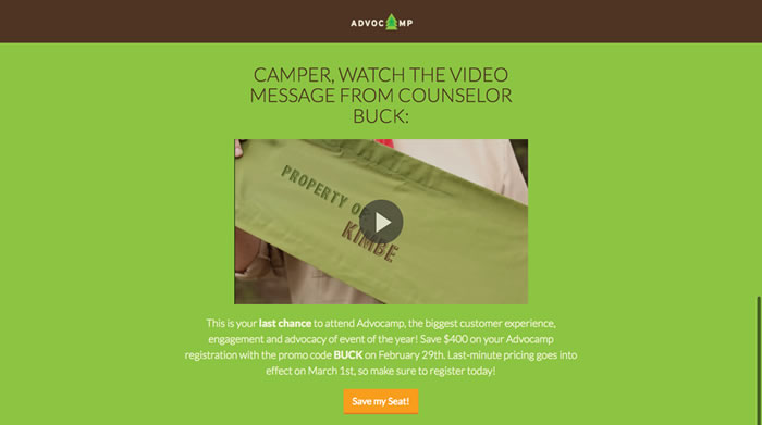 Advocamp landing page