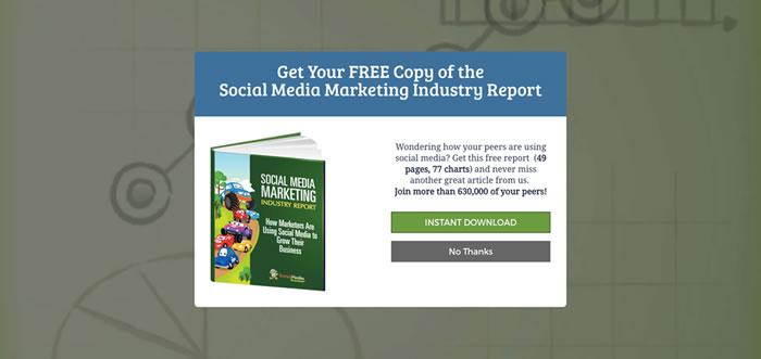 Social Media Marketing exit intent pop-up