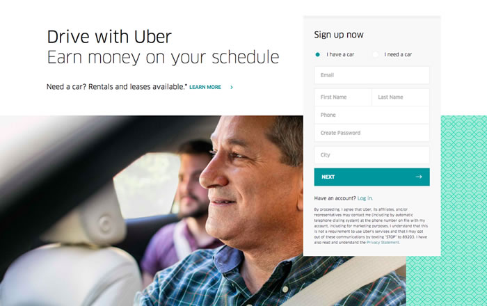 Uber landing page example