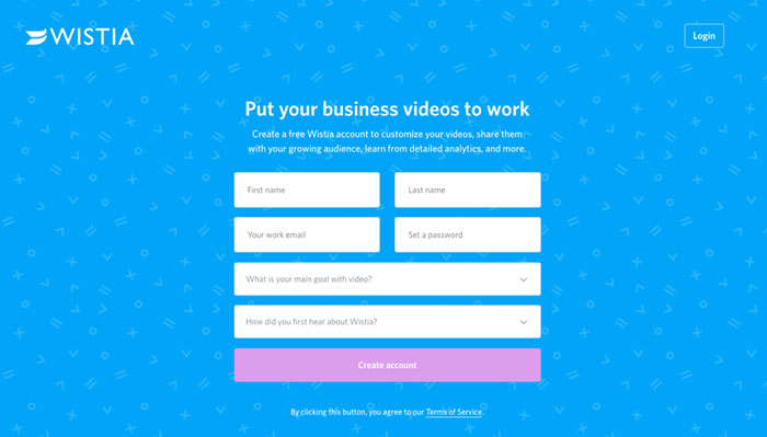 Wistia landing page example