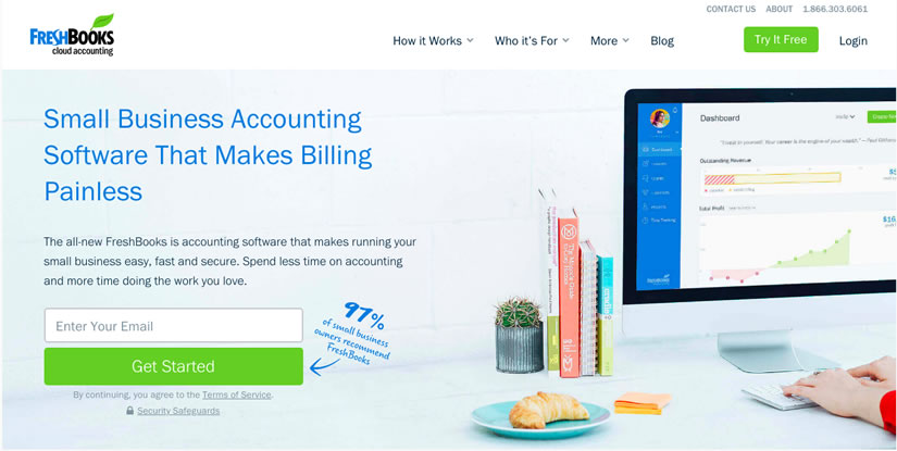 Freshbooks homepage form