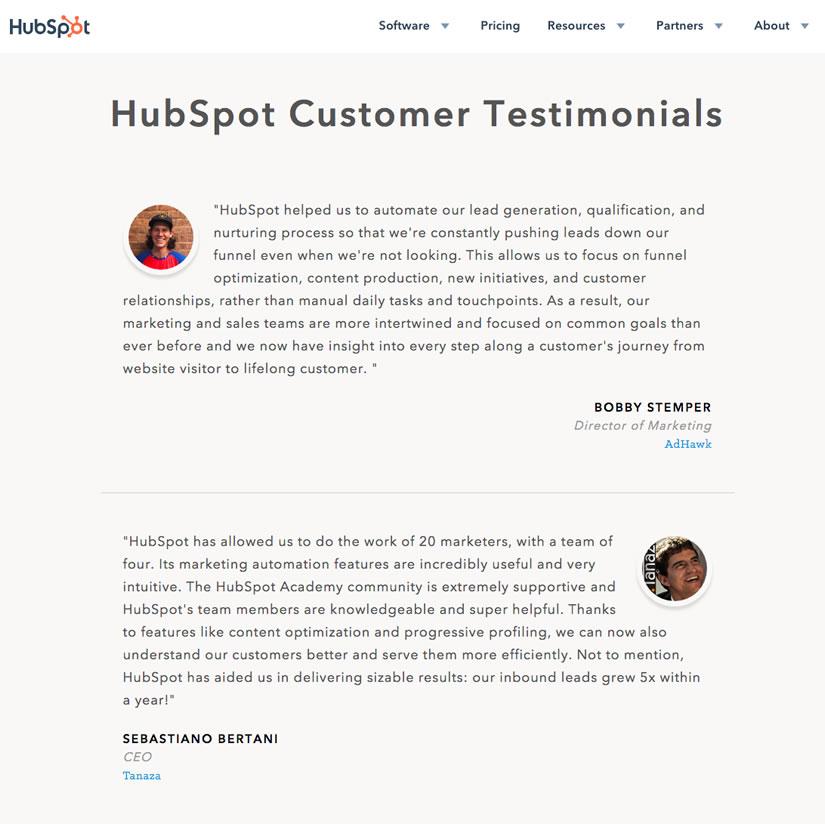 HubSpot Customer Testimonials
