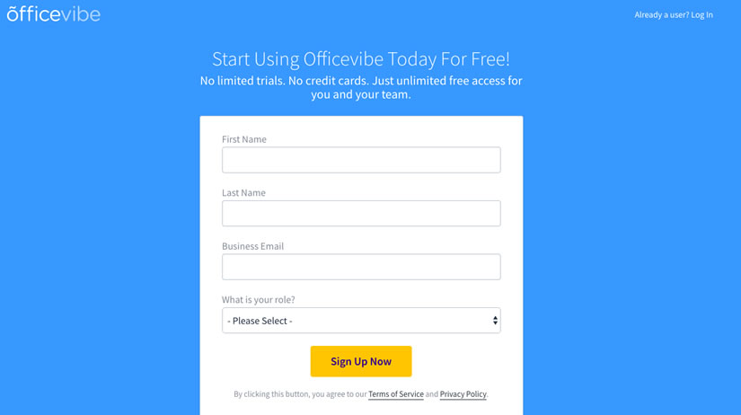 Officevibe's sign-up form
