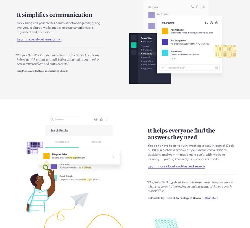 Slack's Features Page