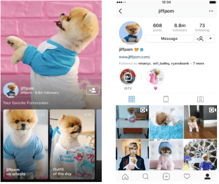 Instagram TV post example